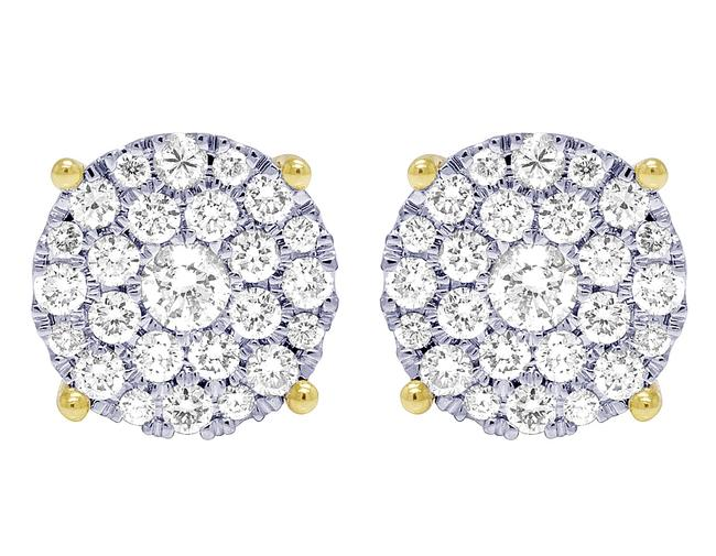 Item - 10k Yellow Gold 4 Prong 1.10ct Diamond Flower Cluster 12mm Earrings