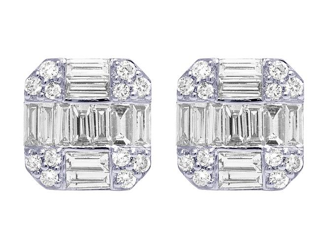 Item - 10k Yellow Gold White 2ct Diamond Baguette Octagon 11mm Earrings