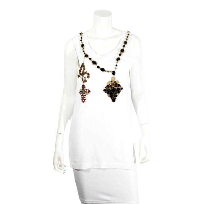 Item - White D&g Cross Crystal Embellished Tee Shirt Size 4 (S)