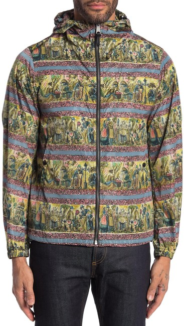 Item - Turquoise Green Artistic Print Hooded Jacket Size 8 (M)
