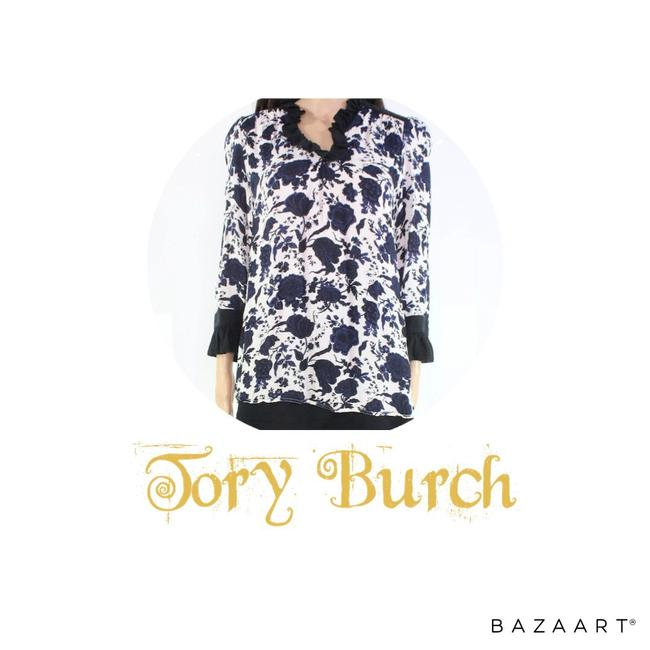Tory Burch Blue and White Floral Blouse Size 6 (S) Tory Burch Blue and White Floral Blouse Size 6 (S) Image 1