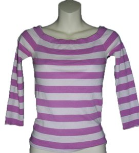 A|X Armani Exchange Rear Opening 3/4 Length Sleeves Boat Neck Cotton Top Violet Light Pink