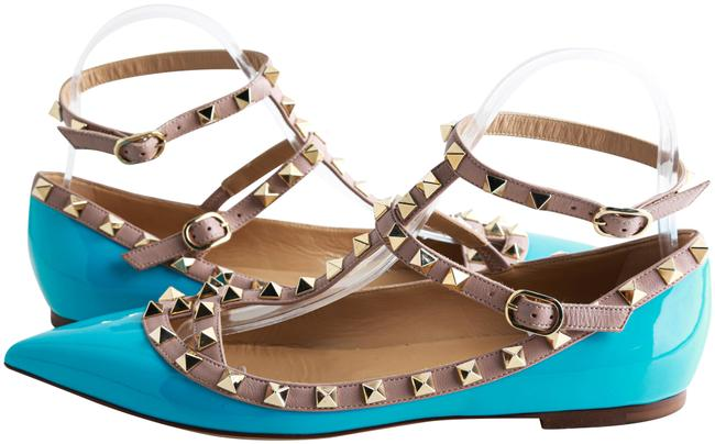 Item - Blue Patent Leather Rockstud Ankle Strap Ballet Flats Size US 8 Regular (M, B)