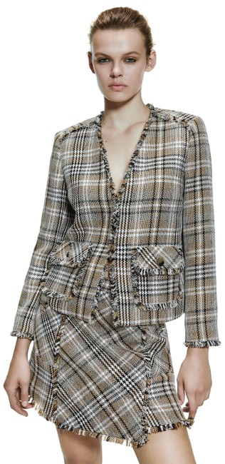 Zara Frayed Tweed Plaid Jacket Blazer Size 4 (S) Zara Frayed Tweed Plaid Jacket Blazer Size 4 (S) Image 1