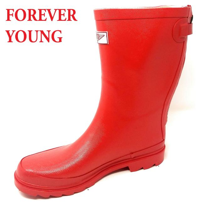 Forever Young Red Rb-5413 Women's Mid-calf Rubber Zipper Boots/Booties Size US 7 Regular (M, B) Forever Young Red Rb-5413 Women's Mid-calf Rubber Zipper Boots/Booties Size US 7 Regular (M, B) Image 1