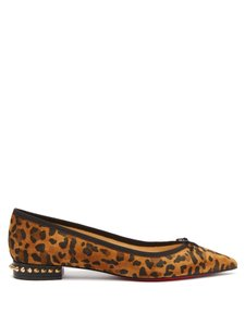 Christian Louboutin Spiked Pointed Toe Leopard Flats