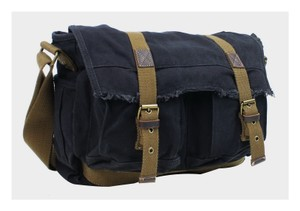 Vintage Cotton Canvas Casual Style Cowhide Leather Cotton Canvas Messenger Bag C41.BLK