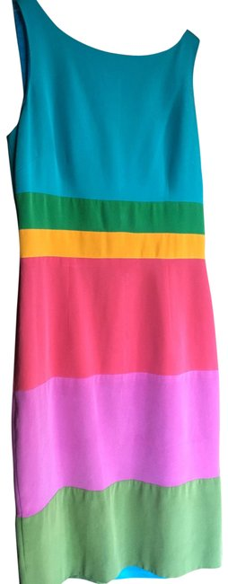 Item - Green/Pink/Blue Column Fit Mid-length Work/Office Dress Size 6 (S)