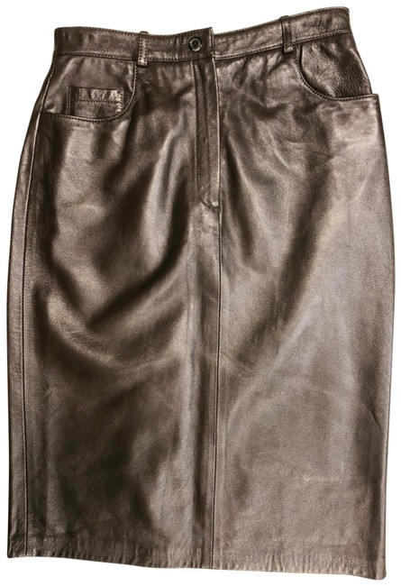 Item - Brown Dolce & Gabanna Leather Zip Up Pencil Straight Skirt Size 4 (S, 27)
