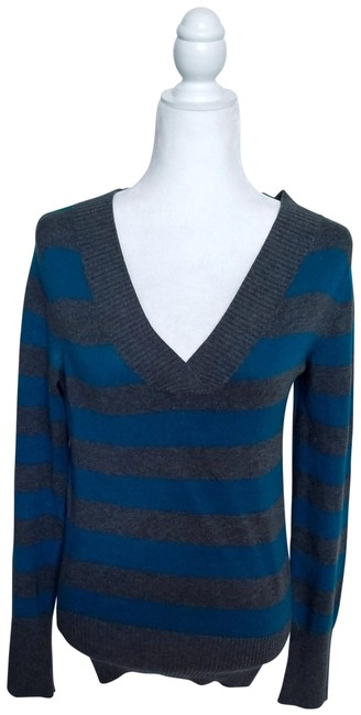 Gap Like New Striped V-neck Teal Gray Sweater Gap Like New Striped V-neck Teal Gray Sweater Image 1