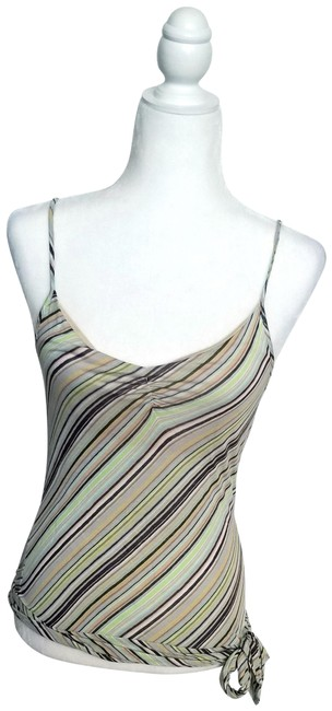 Item - Green Beige Gray Fun Spaghetti-strap with Tie Tank Top/Cami Size 6 (S)