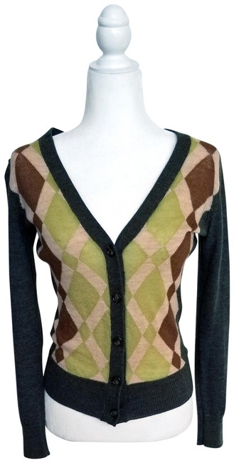 Item - Like New Patterned Button-down Cardigan Green Beige Brown Sweater