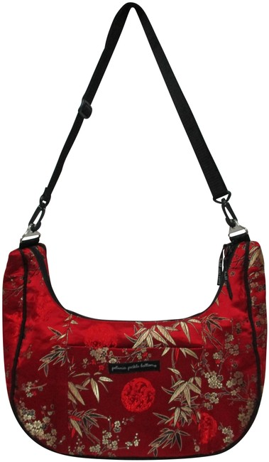 Petunia Pickle Bottom Sunset Dragon Roll Touring Tote Purse Red Black Satin Cross Body Bag Petunia Pickle Bottom Sunset Dragon Roll Touring Tote Purse Red Black Satin Cross Body Bag Image 1
