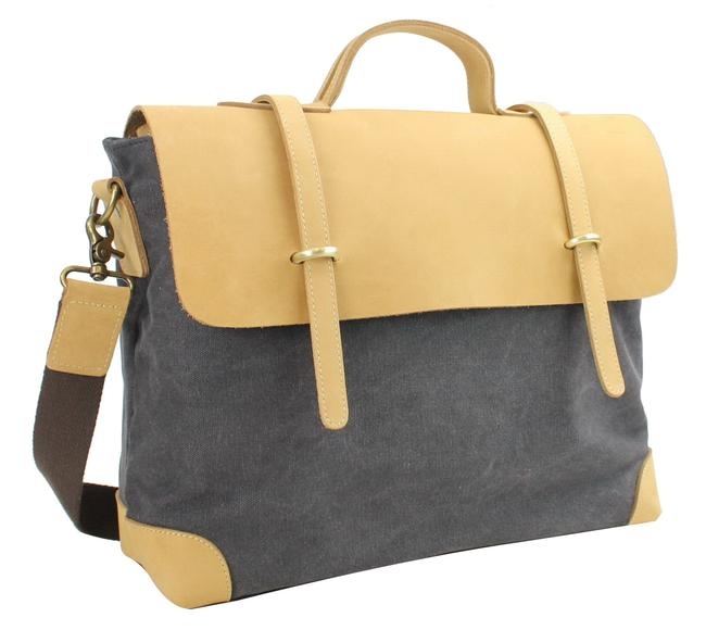 Vagarant Casual Style Cowhide Leather Cotton C41 Grey Canvas Messenger Bag Vagarant Casual Style Cowhide Leather Cotton C41 Grey Canvas Messenger Bag Image 1