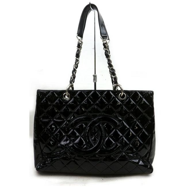 Item - Shopping Tote Quilted Gst Grand 227805 Black Patent Leather Shoulder Bag