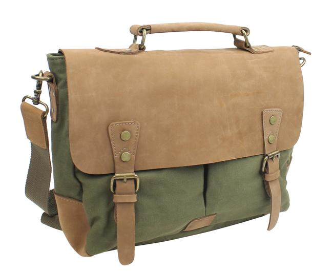 Vagarant Casual Style Cowhide Leather Cotton C43 Green Canvas Laptop Bag Vagarant Casual Style Cowhide Leather Cotton C43 Green Canvas Laptop Bag Image 1