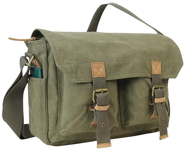 "Vagarant 13.5"" Cotton Washed C51 Green Canvas Messenger Bag Vagarant 13.5"" Cotton Washed C51 Green Canvas Messenger Bag Image 1"
