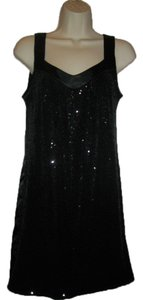 Demi Couture Mitered Sparkles Casual Top Black