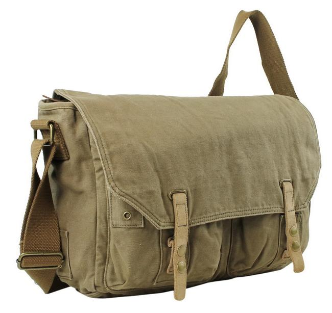 """Item - 15"""" Casual Style Shoulder C52 Military Green Canvas Messenger Bag"""