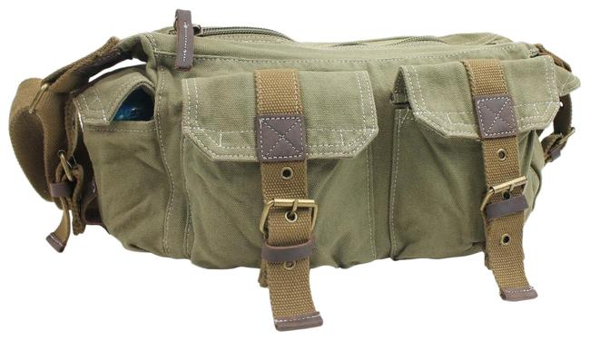 "Vagarant 14"" Casual Boat Style C53 Green Canvas Messenger Bag Vagarant 14"" Casual Boat Style C53 Green Canvas Messenger Bag Image 1"