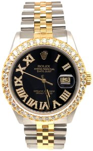 Rolex Men's Rolex Datejust 36MM Black Roman Dial Two Tone Steel/Gold 3.25ct