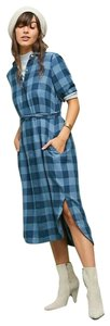 Trovata short dress Blue Plaid Shirt Button Shirt Anthro on Tradesy