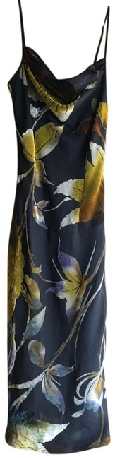Item - Black with Green and Brown Prints Column Slim Fit Mid-length Night Out Dress Size 4 (S)