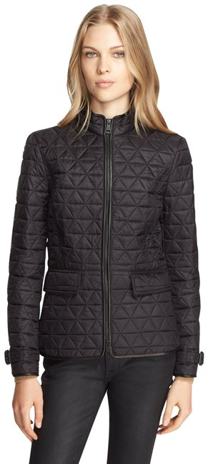 Item - Black Classic 'laycroft' Leather Trim Quilted Moto Zip-up Collared Jacket Size 2 (XS)