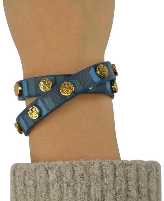 Item - Navy Multi Stud Leather Double Wrap Colorblock Bracelet