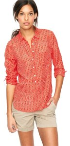 J.Crew Popover Ikat Cotton/silk Top cerise