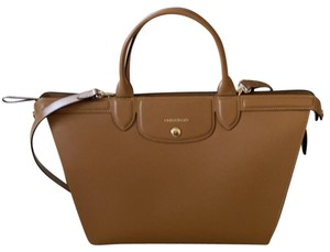 Longchamp Pliage Heritage Natural Tote Camel Leather Satchel 76% off retail