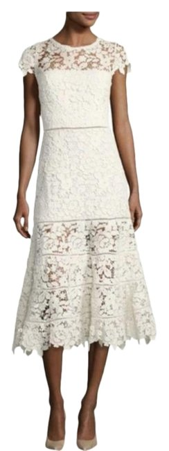 Item - White Cream Celedonia Lace Fit and Flare Illusion Mid-length Formal Dress Size 10 (M)