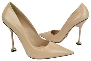 Prada Patent Leather Leather Heels Beige Pumps