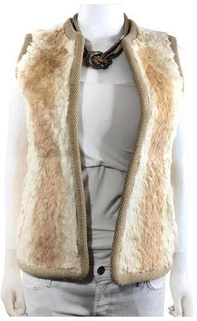 Item - Beige 60's Rabbit Genuine Fur Crochet Knitted Trim Metallic Bronze Reversible Quilted - Style: Hippie / Boho / Vest Size 2 (XS)