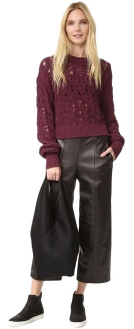 Item - Seed Stitch Cable Burgundy Red Purple Sweater