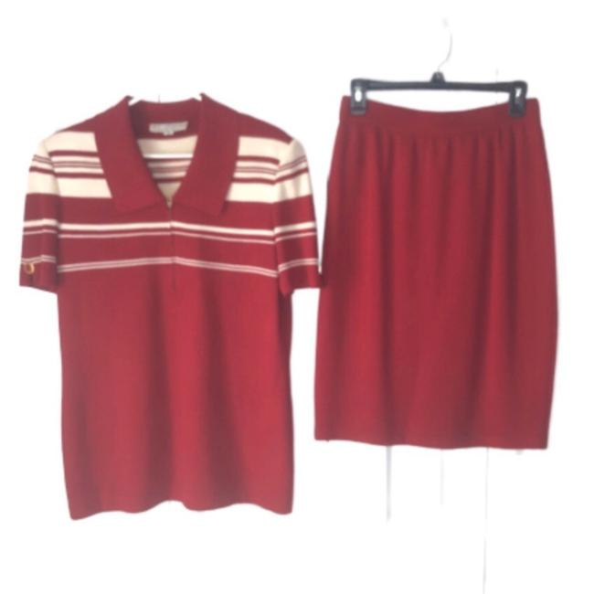Item - Red and Cream Marie Gray Santana Knit 2 Piece Top Skirt Suit Size 8 (M)