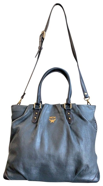 Item - Embossed 2way Shoulder/Handbag Dark Gray Leather Shoulder Bag