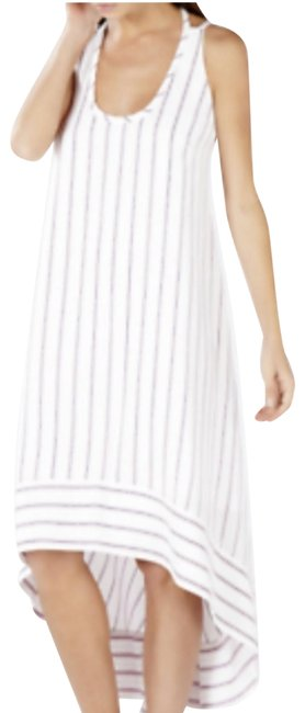 Item - White Chelsi Off Stripes High-low Sleeveless Open Back Mid-length Night Out Dress Size 6 (S)