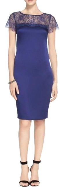Item - Blue Purple Shaded Flora Luxe Satin Lace Short Formal Dress Size 12 (L)