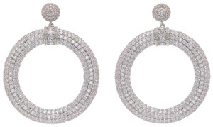 Fallon 90's Drama Clear Pave Crystal Large Drop Hoop Statement Earrings