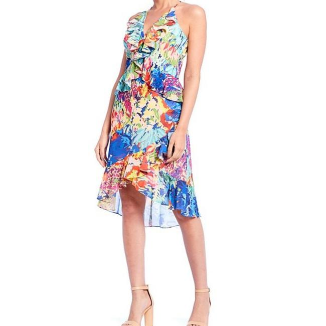 Item - Royal Multicolored Ruffle Vneck Mid-length Night Out Dress Size 2 (XS)