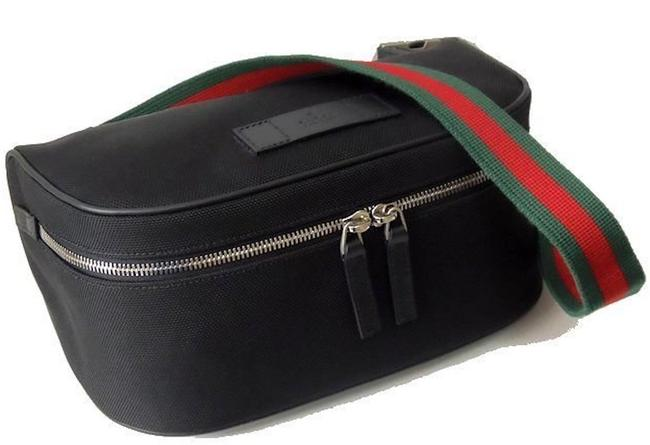 Item - Large Belt New Zip Waist Gg Cross Body Black Red Green Canvas Messenger Bag