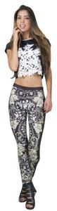 Jealous Tomato Floral Side Zip Skinny Pants BLACK & WHITE
