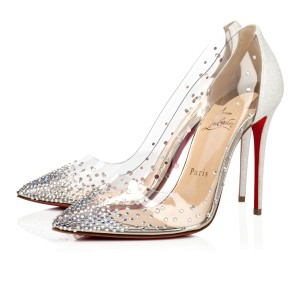 Christian Louboutin Pigalle Follies Strass Crystal Degrastrass Silver Pumps