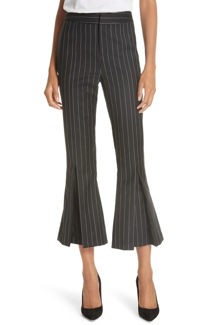 Item - Black Pinstriped Wool Blend Pleated Hem Trousers Pants Size 4 (S, 27)
