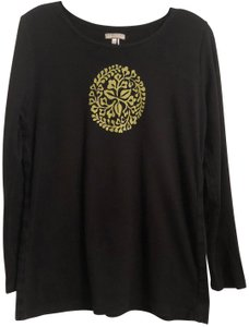 Peruvian Connection Knit Oversized Long Long Sleeve Print T Shirt Black