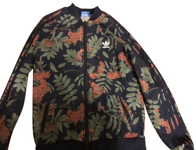 Item - Black Green Pink White Children's Floral Jacket Activewear Top Size 12 (L)