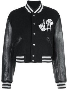 ADAPTATION Embroidered Wool Varsity Leather Jacket