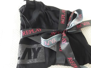 replay Round Collar Made In Italy Sleeve Cotton Logo On The Chest T Shirt black