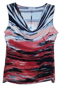 Calvin Klein Cowl Neck Watercolor Print Top Red and White